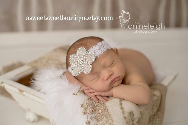 Baby Hadband Baby Girl Headband Sweet And Simple Newborn Headband READY TO SHIP Rhinestone Headband Baby Photo Prop Newborn Photo Prop