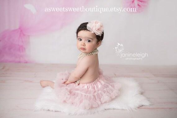 Blush Baby Headband Blush Newborn Headband Blush Pink Chiffon  a9097d43836