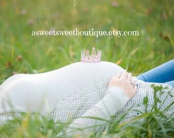 Maternity Photo Prop Pink Mini Crown Photo Prop Baby Pink Tiara Baby Headband Newborn Headband Princess Crown Full Rhinestone Crown Headband
