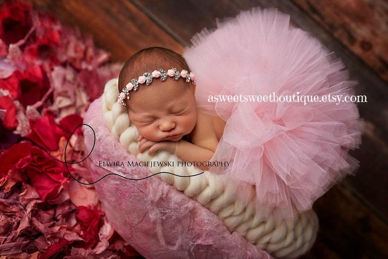 Tutu And Floral Headband Pink Infant Tutu Pink Baby Tutu And Headband Pink Tutu Newborn Tutu With Rhinestone Headband Newborn Photo Prop