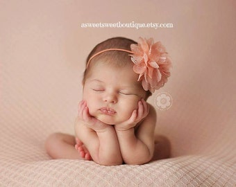 Baby Headband, Peach Headbands, Baby Girl Headbands, Baby Bows, Baby Girl Bows, Newborn Headbands, Baby Headband, Chiffon And Lace Headband