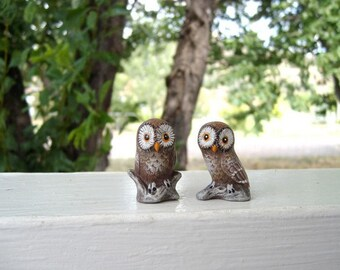 Owls, ceramic miniature owls, set of two owls