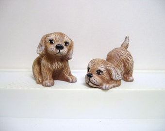 dogs, ceramic miniature dogs, two playful pups