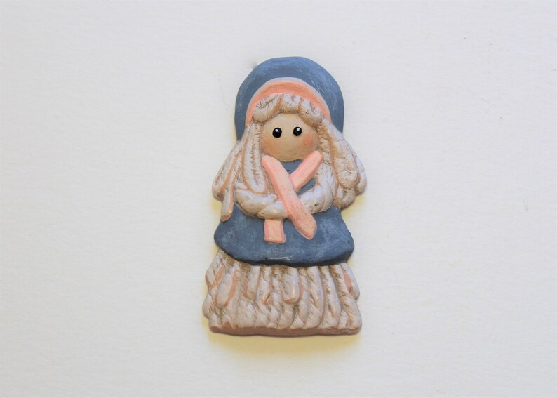 hand painted refrigerator magnets set of two Magnets ceramic Folk figurines