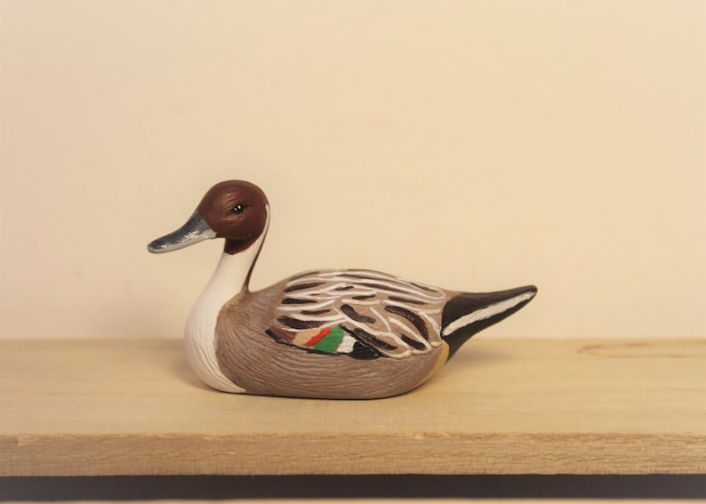 Miniature ceramc pintail duck