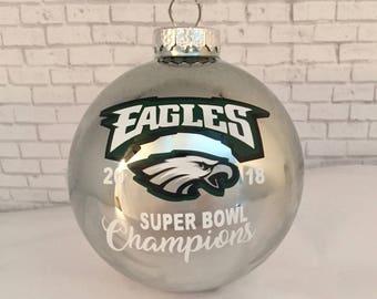 1835a9ed6e8 PHILADELPHIA EAGLES 2018 Super Bowl 52 Champions 80mm glass silver  Christmas ornament