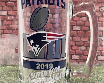 26eb4d5cb1d Heavy NEW ENGLAND PATRIOTS 2019 Super Bowl 53 Champions 25oz. Glass Beer  Stein mug - can be personalized on back of glass.
