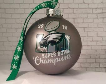 94415299eb1 PHILADELPHIA EAGLES 2018 Super Bowl 52 Champions 80mm Matte Platinum Glass  Christmas ornament