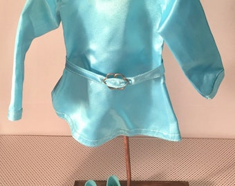 Vintage IDEAL 1970 Crissy & Family shiny turquoise  blue dress complete with belt and matching shoes worn by Crissy when released in 1970