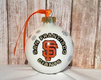 San Francisco Giants white double layered Christmas Ornament with silver sparkle snowflakes