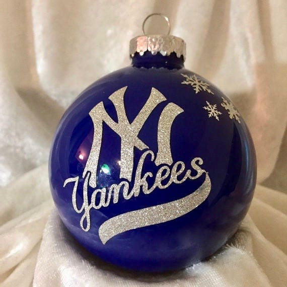 image 0 - NY YANKEES 80mm Round Glass Christmas Ornament Can Add A Etsy