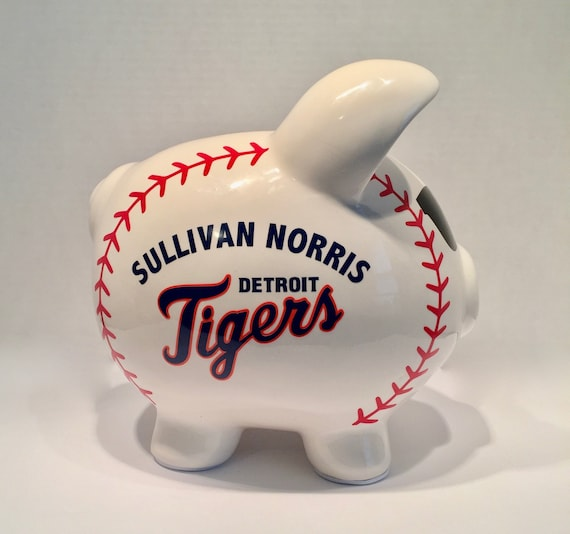 newest 8a5b7 54501 Personalized DETROIT TIGERS Large Baseball Piggy Bank. For Nursery, Boys or  Girls room, Baptism, Birthday, Ring Bearer, Little Leaguer