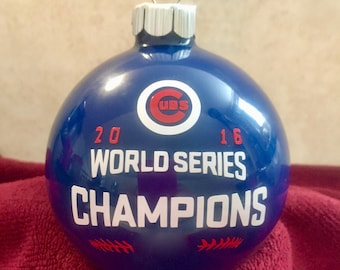 Chicago Cubs 2016 World Series Champions Blue Christmas Ornament