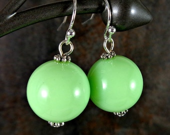 Gumball Earrings, Round Bead Earrings, Green, Chunky Earrings, Drop Earrings, Dangle Earrings, Silver, Green Earrings, Ball Earrings