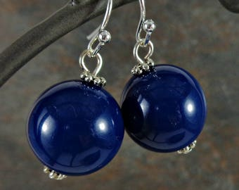 Gumball Earrings, Round Bead Earrings, Blue, Navy, Chunky Earrings, Drop Earrings, Dangle Earrings, Silver, Blue Earrings, Ball Earrings