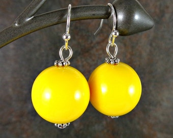 Gumball Earrings, Round Bead Earrings, Yellow, Chunky Earrings, Drop Earrings, Dangle Earrings, Silver, Yellow Earrings, Ball Earrings