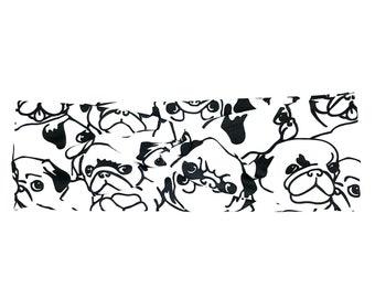 Puppy Dog Girl Head With Rockabilly Bow Iron On Badge Polka Dots Pug Dog DIY