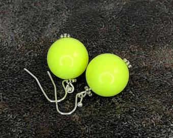 Gumball Earrings, Round Bead Earrings, Neon Yellow, Chunky Earrings, Drop Earrings, Dangle Earrings, Silver, Yellow Earrings, Ball Earrings