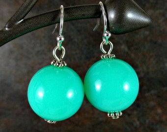 Gumball Earrings, Round Bead Earrings, Mint, Chunky Earrings, Drop Earrings, Dangle Earrings, Silver, Green Earrings, Ball Earrings, Acrylic