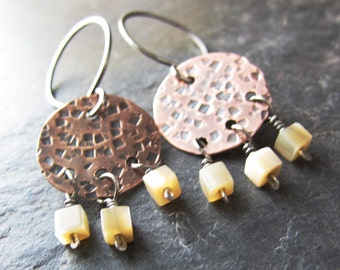 Copper Pebble Beach Earrings - hammered texture