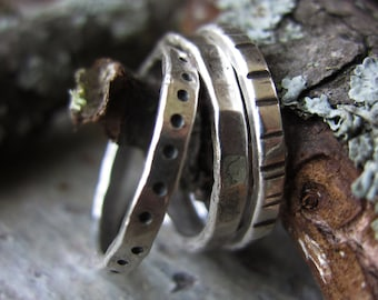 Textured Trio Silver Stacking Rings - handmade fine silver rings w/ hammered texture