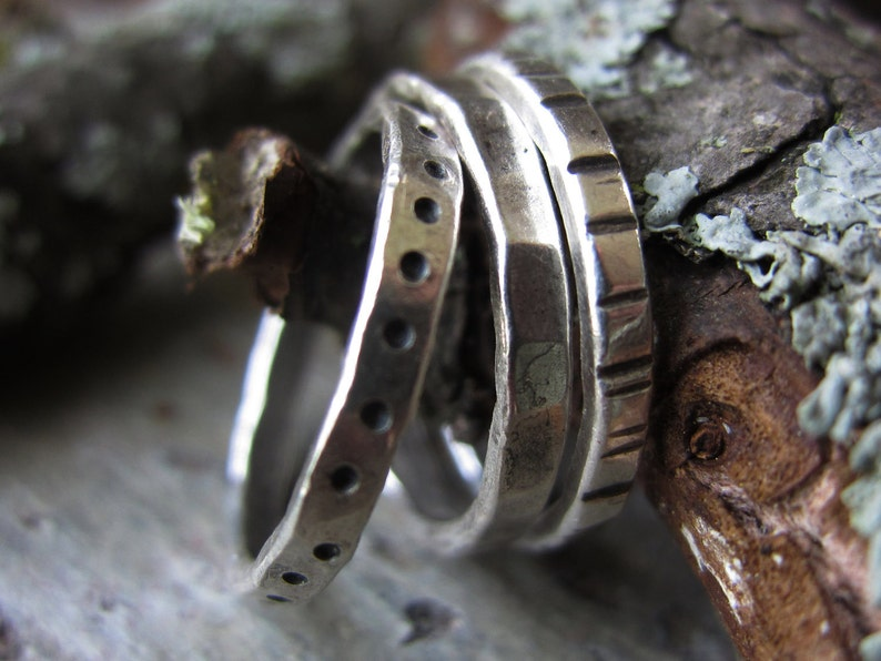 Textured Trio Silver Stacking Rings  handmade fine silver image 0