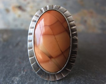 Bruneau Jasper Ring in Sterling Silver - Size 7.25 - OOAK - One Of A Kind Ring