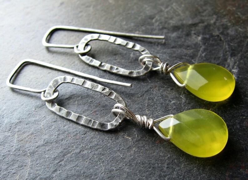 Lemongrass Swing Earrings  handmade Korean jade and silver image 0