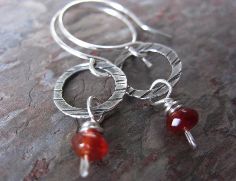 Carnelian Drop Earrings  handmade silver earrings with image 0