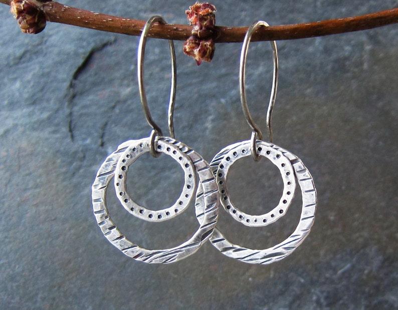 Handmade hammered silver earrings  Silver Splash Earrings image 0
