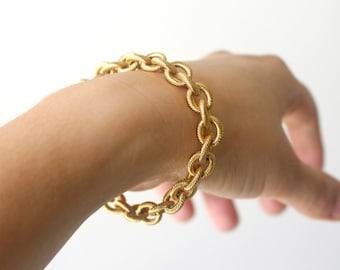 5618e6a26 18k Gold Filled Chunky Bracelet, Gold Rope Bracelet for Women, Gold Bracelet  Chain, Gold Statement Bracelet, Large Chain Link Gold Bracelet