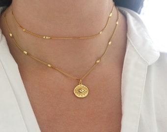 Starburst Gold Evil Necklace, All Seeing Eye, Eye of Providence, Gold Charm Necklace, Protection Good Luck Necklace, Gold Evileye Necklace