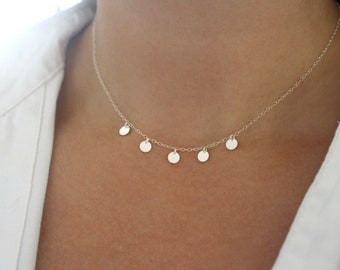 Sterling Silver Disc Necklace, Silver Coin Necklace, Dainty Silver Necklace for Women, Silver Choker Necklace, Delicate Silver Necklace