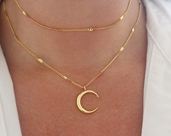 Starburst Gold Moon Necklace, Gold Crescent Moon Necklace, Gold Charm Necklace, Moon Goddess Necklace, Gold Necklace for Women