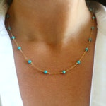 Turquoise Gold Station Necklace, Gold Turquoise Necklace, Gold Turquoise Jewelry, Genuine Turquoise Necklace, Beaded Gemstone Chain Necklace