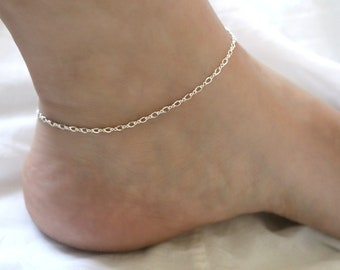 233c45c08 Dainty Sterling Silver Anklet, Sterling Silver Ankle Bracelet, Shimmering 925  Sterling Silver Anklet, Simple Silver Chain Anklet for Women