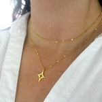 Starlit North Star Necklace, Gold Northstar Necklace, Shimmering Gold Star Necklace, Dainty Gold Charm Necklace, Twinkle Bar Chain Necklace