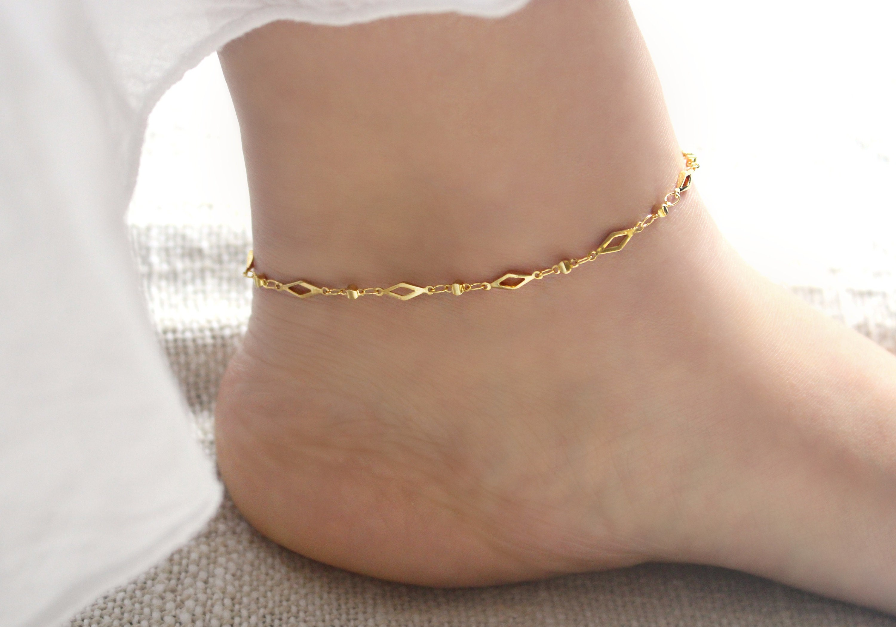 chain bracelet cross gold charm beaded bonded women pin anklet s size