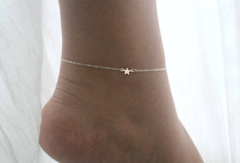 Silver Star Anklet Dainty Silver Anklet for Women Silver image 0