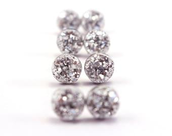 Silver Druzy Earrings, Druzy Post Earrings, Glittering Silver Earrings, Silver Druzy Stud Earrings, Surgical Stainless Steel Earrings