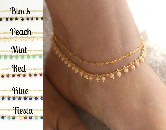 Boho Ankle Bracelet Gold Charm Anklet Gold Ankle Bracelet Set Double Layered Anklet Gold Anklets for Women Dainty Gold Anklet Anklet