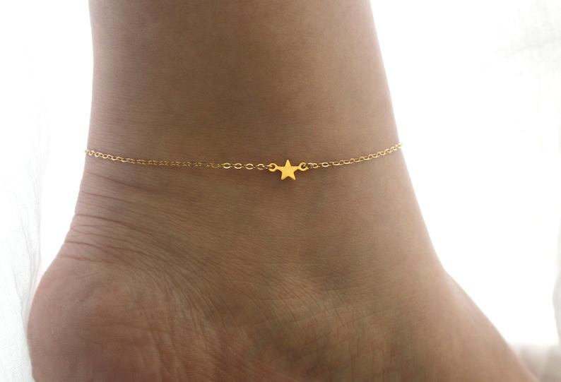 Dainty Gold Star Anklet Gold Anklet for Women Delicate Gold image 0