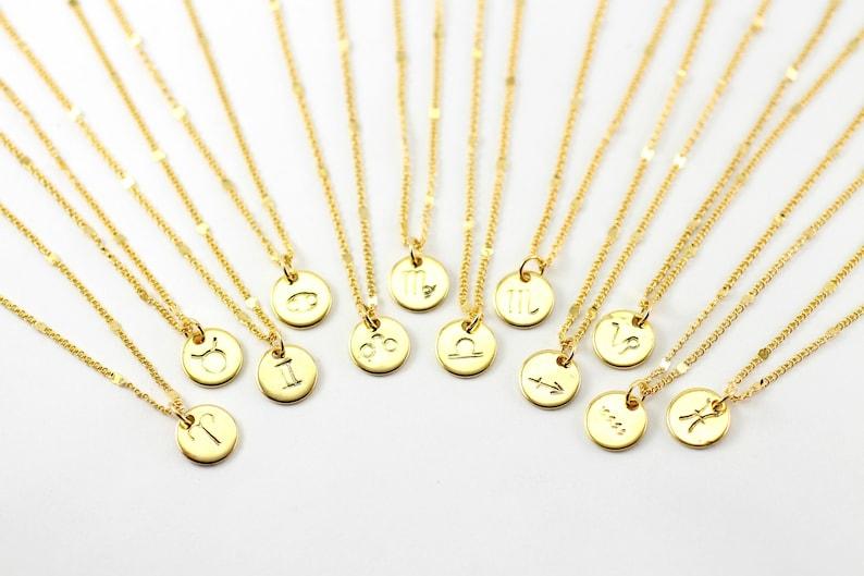 Starlit Gold Zodiac Necklace Gold Zodiac Constellation image 0