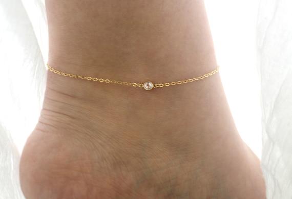 4 Designs Gold Filled CZ Crystal Gem Ankle Anklet Foot Bracelet UK Seller