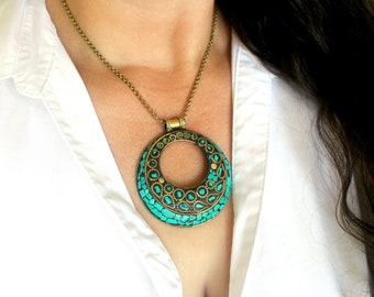 Tibetan Turquoise Necklace, Extra Large Statement Necklace, Bold Brass Green Turquoise Necklace, Huge Brass and Turquoise Mosaic Pendant