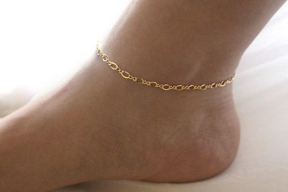 Gold Anklet Bracelet Simple Gold Anklet for Women Dainty Gold Chain Anklet Gold Bar Chain Anklet Thin Gold Anklet Starlit Gold Anklet