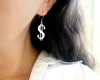 Luck Be A Lady Silver Dollar Sign Earrings, Good Luck Earrings, Long Dangling Silver Earrings, Hypoallergenic Stainless Steel Earrings