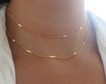 Starburst Gold Choker Necklace, Gold Chain Necklace, Simple Gold Necklace For Women, Gold Bar Necklace, Layered Gold Bar Chain Necklace