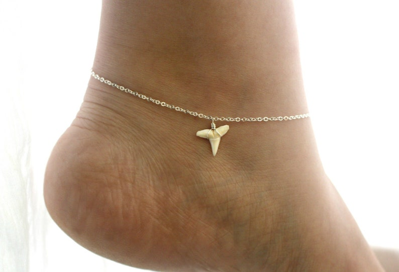 Silver Shark Tooth Anklet Dainty Sterling Silver Anklet for image 0