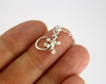 Sterling Silver Gecko Necklace, Tiny Baby Gecko Necklace, Silver Animal Necklace, Small Sterling Silver Charm Necklace, Silver Gecko Jewelry